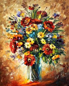 Magic Flowers — PALETTE KNIFE Oil Painting On Canvas By Leonid Afremov #art #painting #fineart #modernart #canvas