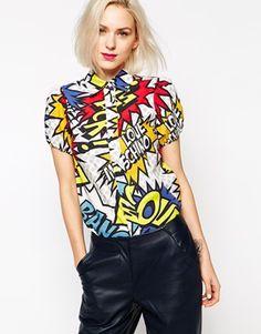 Love Moschino Short Sleeve Pow Pop Print Shirt