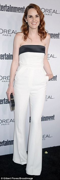 White out: Downton Abbey alum Michelle Dockery donned a strapless white jumpsuit selected by stylist Micaela Erlanger, while UnREAL's Shiri Appleby bared her underboob in a halter flounce gown