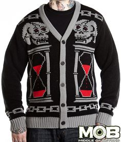 Grim Reaper Skull Hour Glass Knit Cardigan – Middle of Beyond. Don't Fear the Reaper! Ha I love this.