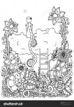 Vector illustration zentangl, girl sitting on a cloud in flowers. Doodle floral drawing. A meditative exercises. Coloring book anti stress for adults. Black and white.