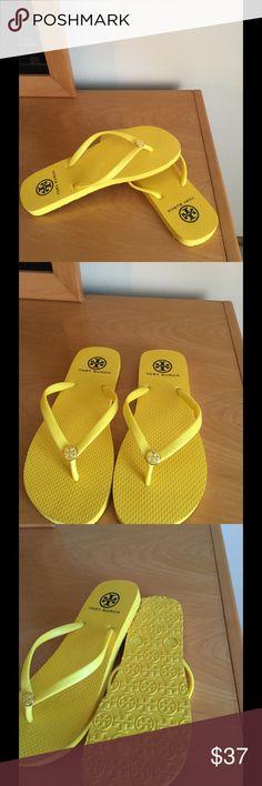 New Tory Burch Sz 7 flip flops Yellow New Yellow Sz 7 Tory Burch flip Flops Price firm Tory Burch Shoes Slippers
