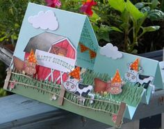 Party 'til the Cows Come Home by - Cards and Paper Crafts at Splitcoaststampers Homemade Greeting Cards, Hand Made Greeting Cards, Making Greeting Cards, Homemade Cards, Fancy Fold Cards, Folded Cards, Pop Up Cards, Cool Cards, Center Step Cards
