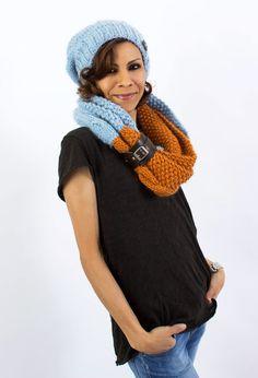 Alpaka-Set Beanie & Loopschal Orange/Hellblau von amjas.net  auf DaWanda.com
