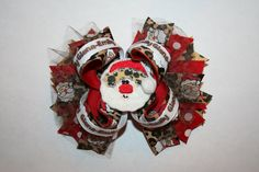 """Custom 3/8"""" Name Ribbon Graphics made by me!  Leopard Santa Christmas boutique hair bow by tiffy76620 on Etsy, $13.00"""