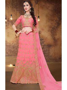Mesmerizing Pink and Golden Brocade Online Designer Lehenga Choli