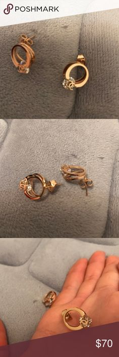 Earrings Rose gold color, with Chanel logo on top of the 1ct stone :) no brand Jewelry Earrings