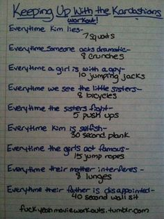 Keeping Up With The Kardashians workout!  Want to see more workouts like this one? Follow us here.