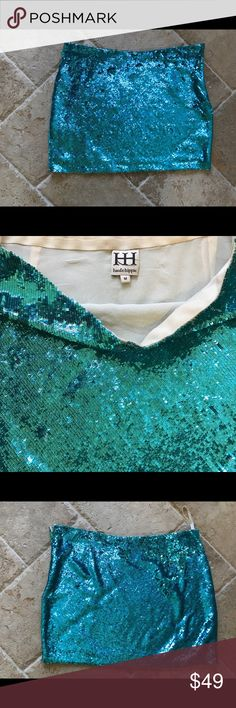 Haute Hippie sequin skirt! Agua blue Vegas Baby This turquoise skirt screams Vegas or a fun girls night. Size medium. The pairings with this color are endless. Haute Hippie Skirts Mini