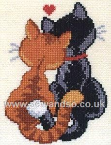 Buy Cats in Love Cross Stitch Kit Online at www.sewandso.co.uk