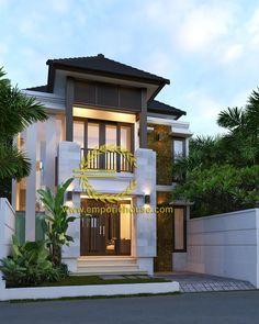 Desain Rumah 2 Lantai 4 kamar Lebar Tanah 8 meter dengan ukuran Tanah 1 are/100m2