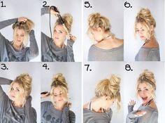 Прическа на каждый день на средние волосы пучок