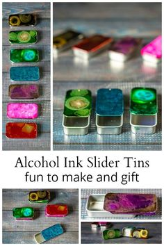 Learn how to use alcohol inks on metal slider tins to create beautiful handmade gifts for everyone on your list this holiday season. Learn how to use alc Alcohol Ink Crafts, Alcohol Ink Art, Homemade Alcohol, Tin Gifts, Candy Gifts, Food Gifts, Diy Holiday Gifts, Handmade Christmas, Christmas Gifts For Boyfriend