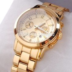 awesome New  Golden Fashion Women Watch Fashion Luxury Watches Literally With Drill Marca MK Clock Calendar Watch