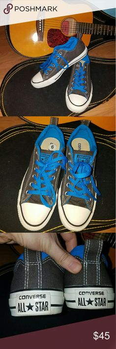 NWOT Allstar converse NWOT - Never worn, unisex gray canvas converse shoes with vibrant blue accents. They're a men's size 6 (which in women's is my size, size 8). Making room in my closet! Converse Shoes Sneakers