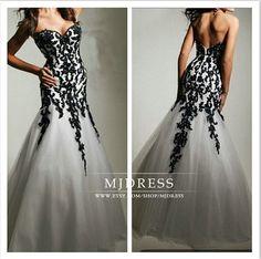 White&Black Mermaid Prom Dress Beach Wedding Dresses Sweetheart Strapless Mermaid Wedding Dress Long evening Dress