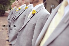 Indiana University Wedding Photos, yellow boutonnieres, yellow and grey wedding