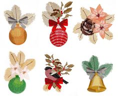 These beautiful Ornaments would make a beautiful Mantle Cloth, Tree Skirt, or stitch them on felt and cut out to hang on the tree.  6 Designs each in 3 sizes MLJ Check Sizes Thread List <Free design is the last image on the left. Free Design - Click to Download