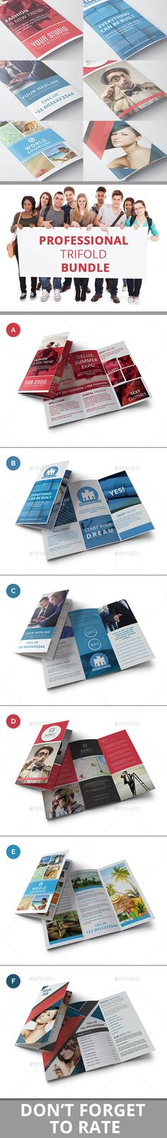 Professional Trifold Brochure Bundle - Brochure Template PSD. Download here: http://graphicriver.net/item/professional-trifold-brochure-bundle/12257603?s_rank=1709&ref=yinkira