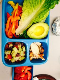 Lettuce wraps with grilled chicken, avocado, and peppers with Greek salad and berries!