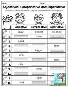 Adjectives: Comparative and Superlative- Complete the chart using the correct form of each adjective. This packet comes with tons of activities to thoroughly teach students adjectives and grammar skills in second grade!