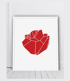 "Geometric Rose Print, Geometric Rose Poster, Red Rose, Black Rose - 8""X10""  -  Giclee Print on Etsy, $18.00"