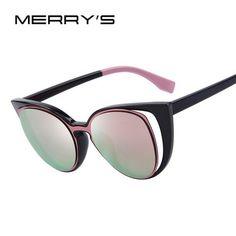 7e4cc86e996 MERRY S Fashion Cat Eye Sunglasses Women Brand Designer Retro Pierced Female  Sun Glasses oculos de sol