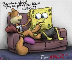SpongeBob and Sandy (SpongeBob SquarePants) (c) United Plankton Pictures, Nickelodeon & Paramount Television Spongebob And Sandy, Pretty Drawings, Paws And Claws, Paramount Pictures, Spongebob Squarepants, Character Description, Dreamworks, Squirrel, Cuddling