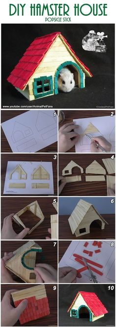 DIY Hamster House popsicle stick - How to make a Hamster House . - DIY Hamster House popsicle stick – How to Make a Hamster Stick House - Habitat Du Hamster, Syrian Hamster, Hamster Stuff, Dwarf Hamster Toys, Pet Stuff, Diy Hamster House, Hamster Diy Cage, Diy Hedgehog House, Chinchillas