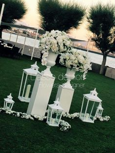 Lamp n flowers Wedding Aisles, Church Wedding, Outdoor Wedding Decorations, Ceremony Decorations, Flower Decorations, Wedding Hair Flowers, Floral Wedding, Wedding Colors, Flower Arrangements