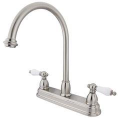 Double Handle Centerset Kitchen Faucet with Porcelain Lever Handles
