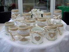 Shabby chic/vintage wedding decorated glass jar tea light holders/favours x 10 Mason Jar Crafts, Bottle Crafts, Mason Jars, Diy Candles, Candle Jars, Floating Candles, Favour Jars, Deco Champetre, Wedding Centerpieces