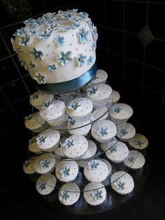 cute! maybe do a couple tiers on bottom instead of cupcakes.. but keep the same decoration for the bottom portions?