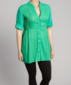 Look what I found on #zulily! Green Pleated Empire-Waist Tunic - Plus #zulilyfinds