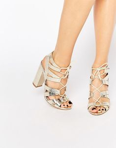 2ec323c26eb Shop Lipsy Cleo Gold Metallic Ghillie Tie Up Sandals at ASOS.