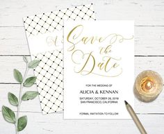 Gold Save the Date Printable DIY editable Save the Date