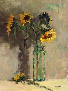 "Sunflowers in Green Bottle by Philippe Gandiol Oil ~ 16"" x 12"""