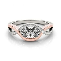 1.30CT ENGAGEMENT RING 18K ROSE GOLD TWO STONE STYLE WHOLESALE #twostonesstyle