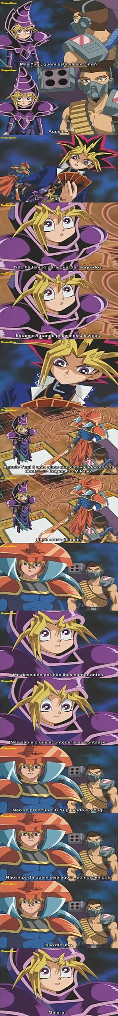 """Diálogo original na versão japonesa de Yu-Gi-Oh! Episódio 13  – A Armadilha do Pote de Metanol, quando, em meio ao 1º duelo contra Yami Bakura/Dark Bakura, os amigos de Yugi descobrem que ele possui uma segunda personalidade-uma segunda alma: Yami Yugi. Na versão brasileira(pela 4Kids), o dialogo é diferente, como se fosse a primeira vez que Yugi percebe a existência do """"outro eu"""""""
