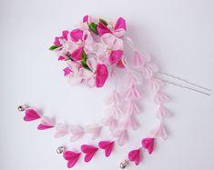 Pink Sakura Blossom Tsumami Kanzashi Silk Flowers by HanamiGallery