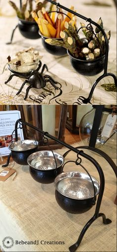 Love this Cauldron Condiment Set from Pottery Barn.  Three Sanderson sisters, three mini cauldrons, a perfect serving set for your Hocus Pocus party!