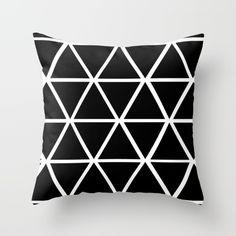 BLACK & WHITE TRIANGLES 2 Throw Pillow