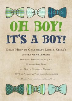 baby boy shower invitation with bow ties, little gentleman theme, digital, printable file (item 1246e). $13.00, via Etsy.
