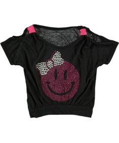 Pink Bling Smiley Face Shirt...so cute for back to school
