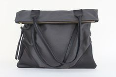 Large Leather + Canvas Tote
