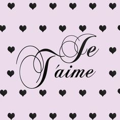 Gold Je T'aime & Hearts Wall Decals