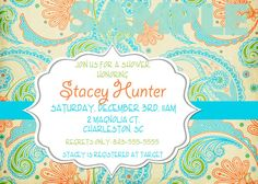 Invitation that would be good for a cowgirl themed birthday or baby shower by shopTickledBlue. I love the paisley print on this one, definitely one of my favorites!