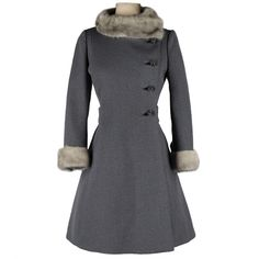 Vintage 1960's Gray Wool Mink Trimmed Coat | From a collection of rare vintage coats and outerwear at http://www.1stdibs.com/fashion/clothing/coats-outerwear/