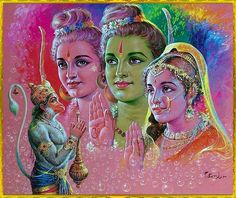 Hanuman,Rama,Laxmana,Sita, from RAMAYANA