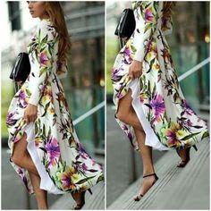 Kaftan-Abaya-Jilbab-Islamic-Muslim-Cocktail-Long-Sleeve-Vintage-Floral-Dress